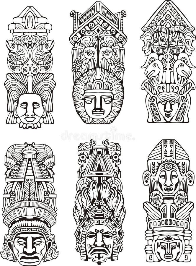 Pólos de totem astecas ilustração do vetor