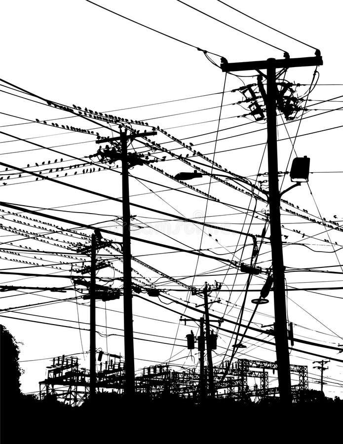 Pólos e fios de telefone ilustração do vetor