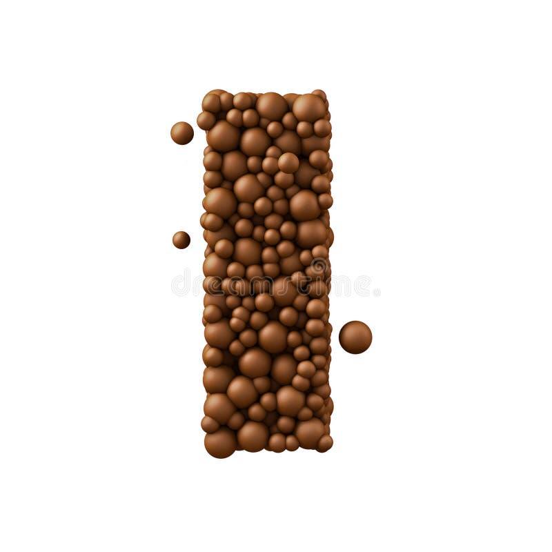 Póngame letras hizo de las burbujas del chocolate, concepto del chocolate con leche, 3d rinden ilustración del vector