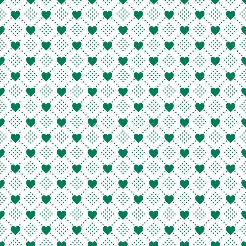 Póngase verde en el corazón blanco y la línea de puntos fondo inconsútil del amor de la repetición del modelo fotografía de archivo