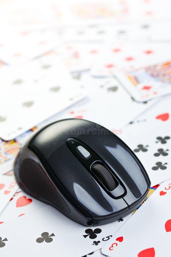 Póquer em linha que joga fotografia de stock