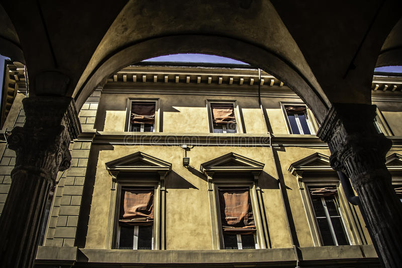 Pórtico de Bolonia de Zamboni foto de archivo