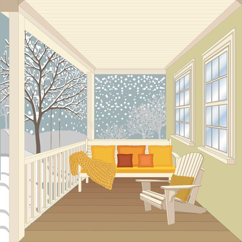 Pórtico de la casa de campo con el banco de madera y la silla ilustración del vector