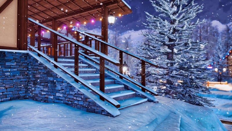Pórtico de la casa rural de entramado de madera en el día de invierno stock de ilustración