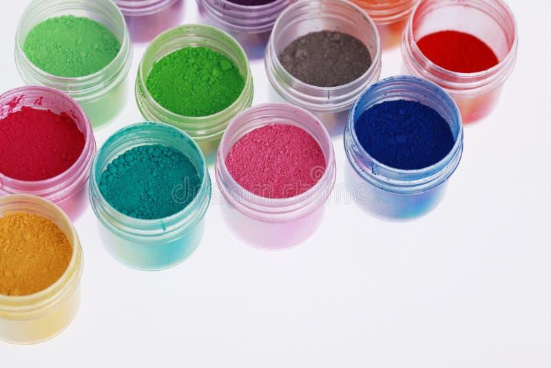 Pós coloridos dos pigmentos imagem de stock royalty free