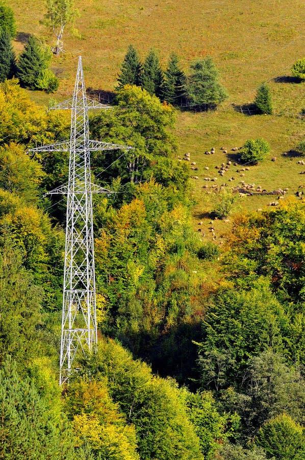 Pôle et moutons électriques sur la montagne photo stock