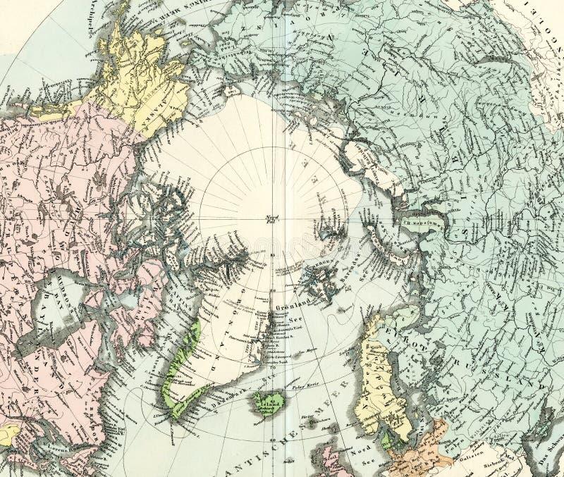 Pôle Nord antique de carte illustration stock