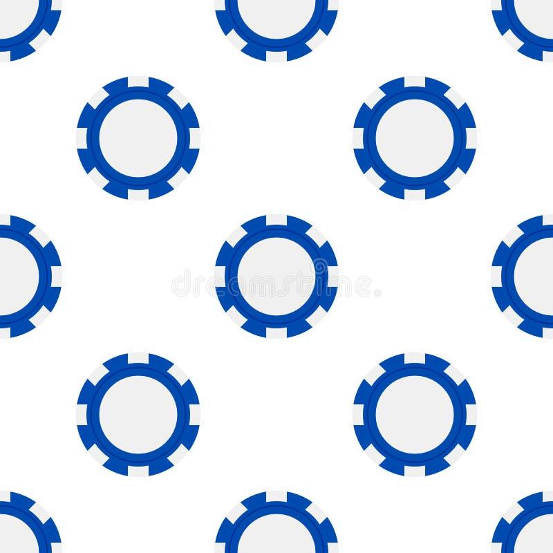 Pôquer azul Chip Flat Icon Seamless Pattern ilustração royalty free