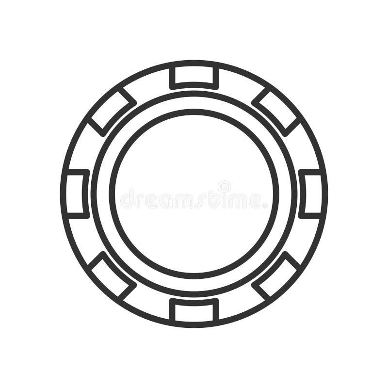 Pôquer Chip Outline Flat Icon no branco ilustração stock
