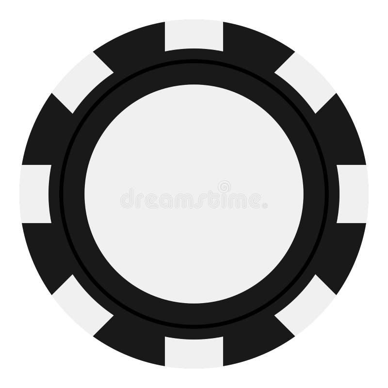 Pôquer preto Chip Flat Icon Isolated no branco ilustração royalty free