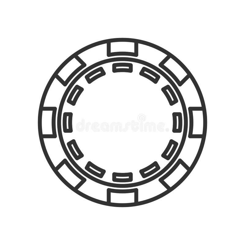 Pôquer redondo Chip Outline Flat Icon no branco ilustração stock
