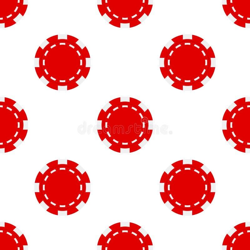Pôquer vermelho Chip Icon Seamless Pattern ilustração royalty free
