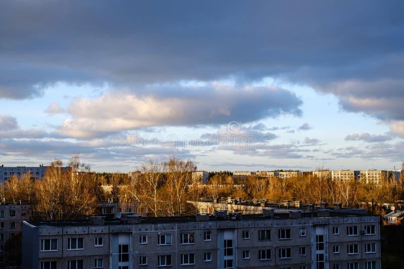 pôr do sol sobre a cidade com silhuetas de tronco de árvore escura na frente foto de stock