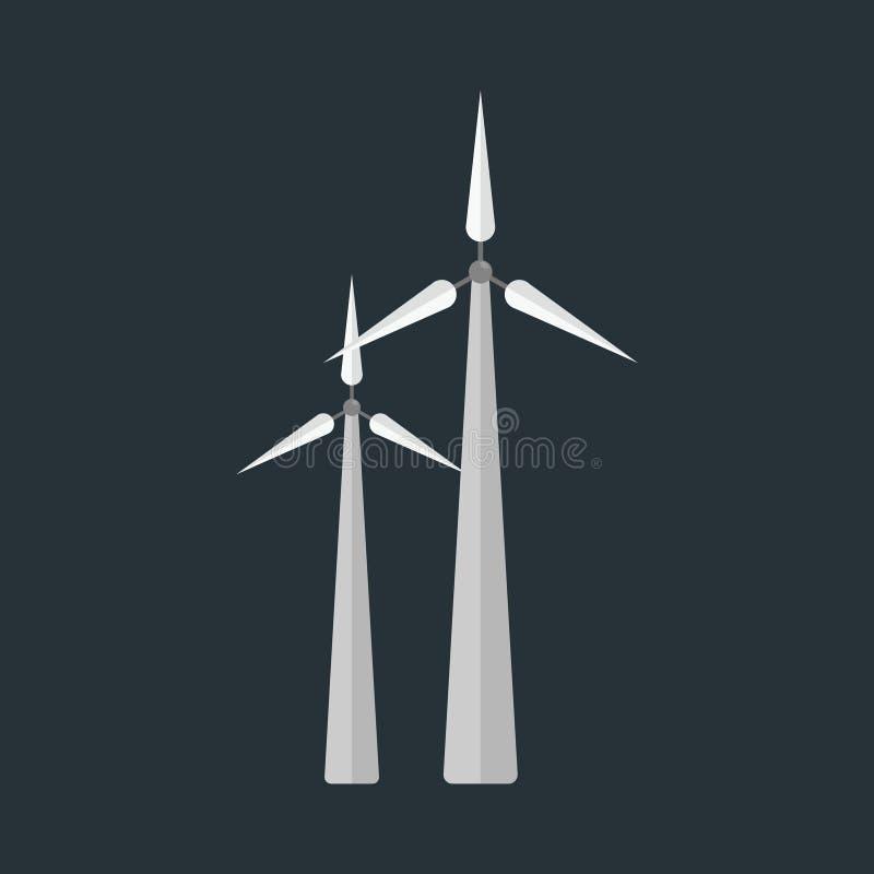 Põe a ilustração renovável da energia alternativa e do vetor da natureza da tecnologia da estação do vento da turbina do eco ilustração stock
