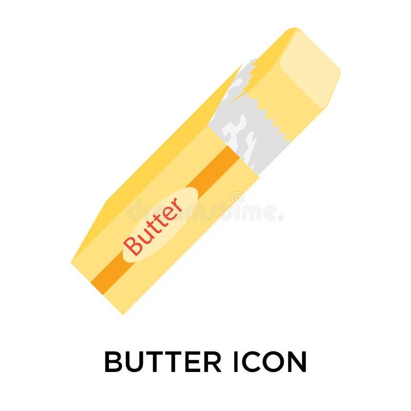 Põe manteiga o sinal e o símbolo do ícone isolados no fundo branco, ilustração do vetor
