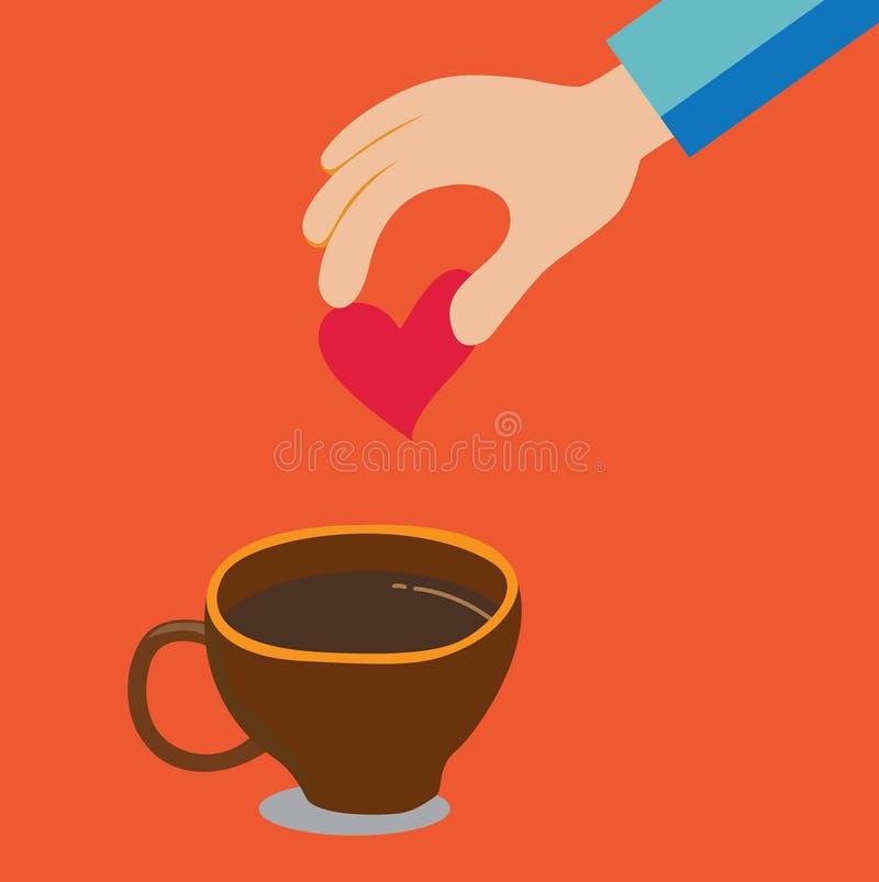 Põe o coração dentro à xícara de café fotografia de stock