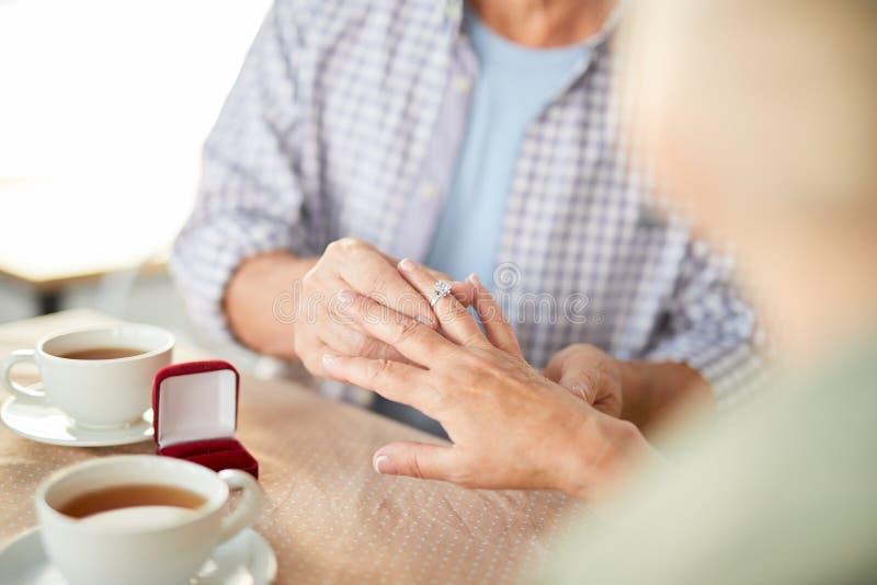 Põr o anel sobre o dedo fotografia de stock