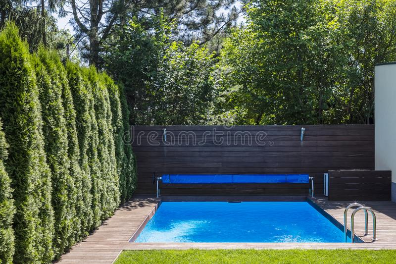 Pöl i terrassen av huset med träd under sommar Verklig phot arkivfoton