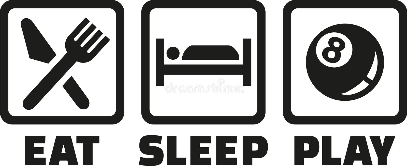 Pölen - äta sömnlek royaltyfri illustrationer