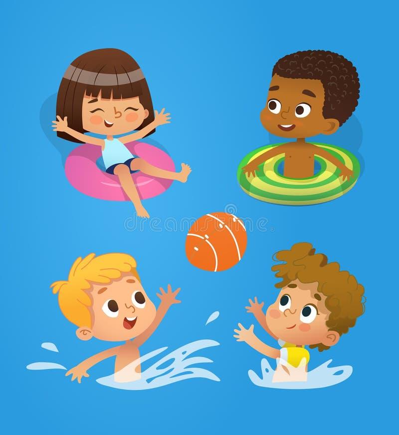 Pöltecken Blandras- barn har gyckel i pöl Barn som spelar med en boll i vattnet Flickasimning i vektor illustrationer