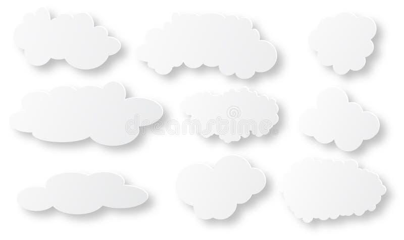 Pösiga moln för vit och för grå färger på vit bakgrund royaltyfri illustrationer