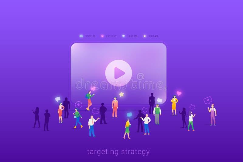 Público-alvo do grupo de foco para o conceito de ilustração de vetor de propaganda de marketing digital de fluxo de vídeo Direcio ilustração royalty free