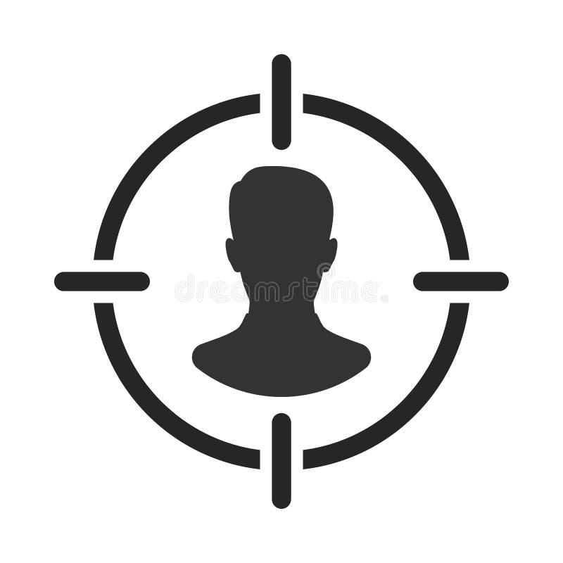 Público objetivo Cliente, alcance del cliente Centricity del consumidor Muestra del ser humano del objetivo ilustración del vector