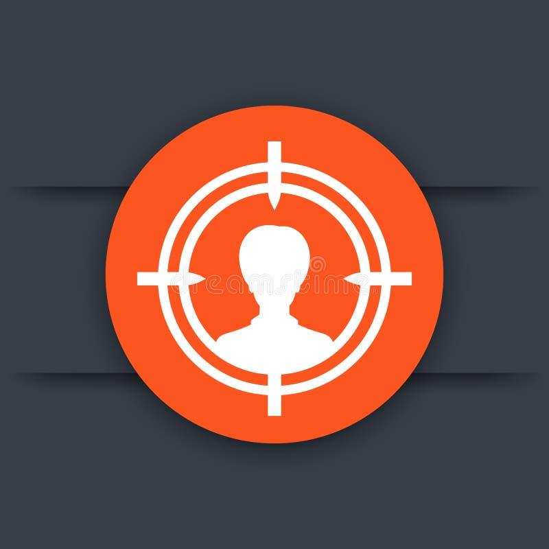 Público objetivo, cliente, icono del cliente potencial ilustración del vector