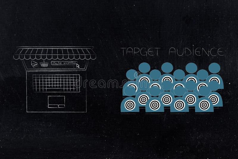Público objetivo con la pantalla del ordenador portátil con compras y stor en línea libre illustration