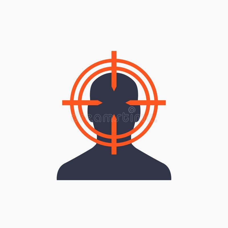 Público objetivo, icono del cliente, concepto de comercialización ilustración del vector