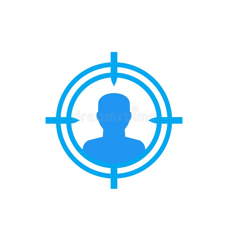 Público objetivo, icono del cliente potencial ilustración del vector