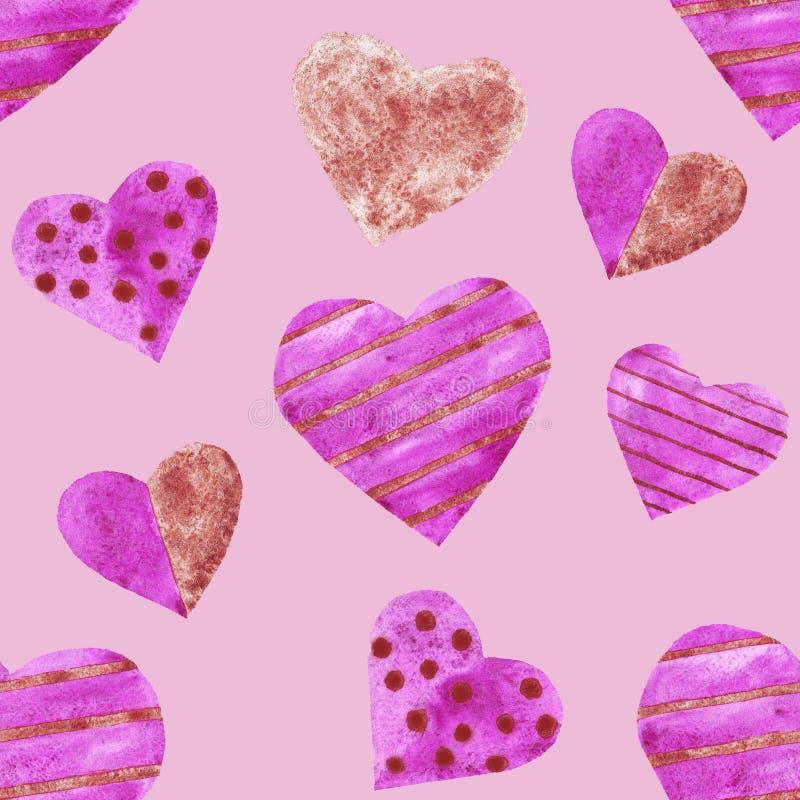 Púrpura de la acuarela y amor inconsútil del modelo de los corazones del tonelero que se casa día de San Valentín ilustración del vector