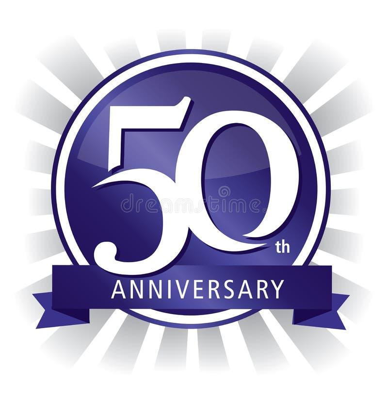 50.a púrpura de la insignia del aniversario stock de ilustración