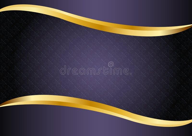 Púrpura de lujo con las líneas diseño del oro del vector del fondo ilustración del vector