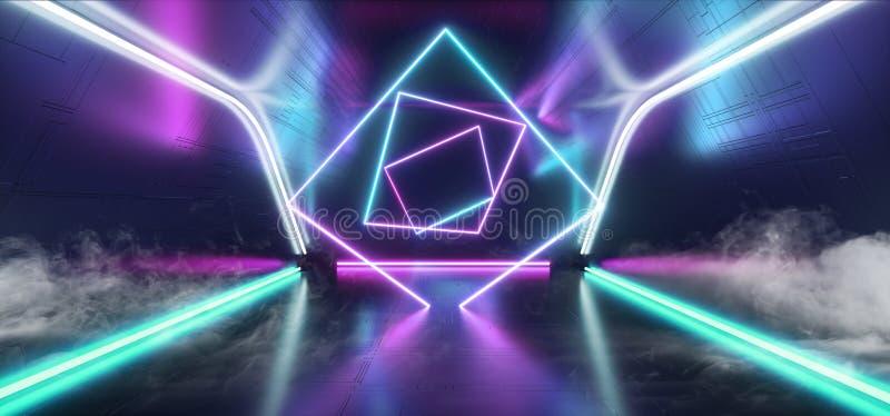 Púrpura de rayo láser Sci retro oscuro que brilla intensamente azul Fi de la construcción del club nocturno de la etapa del humo  libre illustration