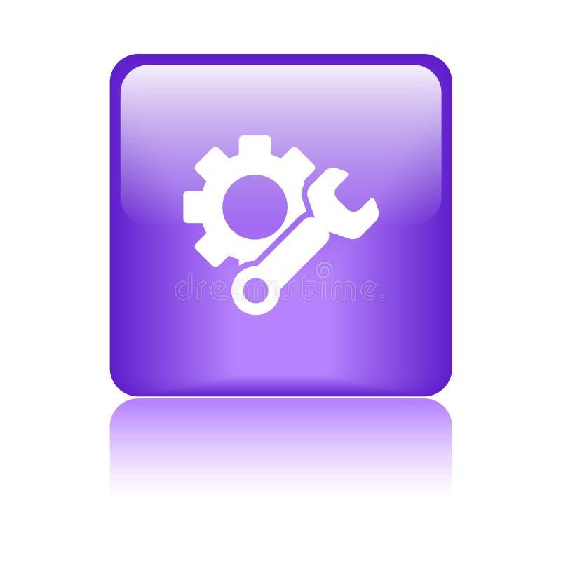 Púrpura del botón del web del icono de los ajustes stock de ilustración