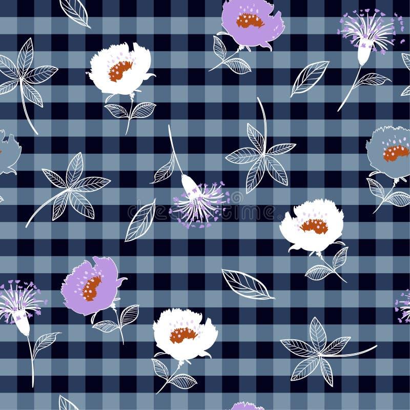 Púrpura dibujada mano floreciente y blanco del verano inconsútil hermoso libre illustration