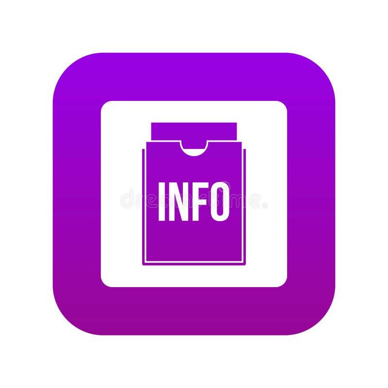 Púrpura digital del icono de la carpeta de la información ilustración del vector