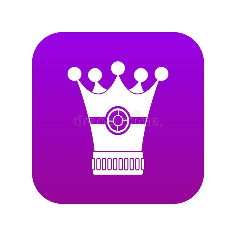 Púrpura digital del icono medieval de la corona stock de ilustración