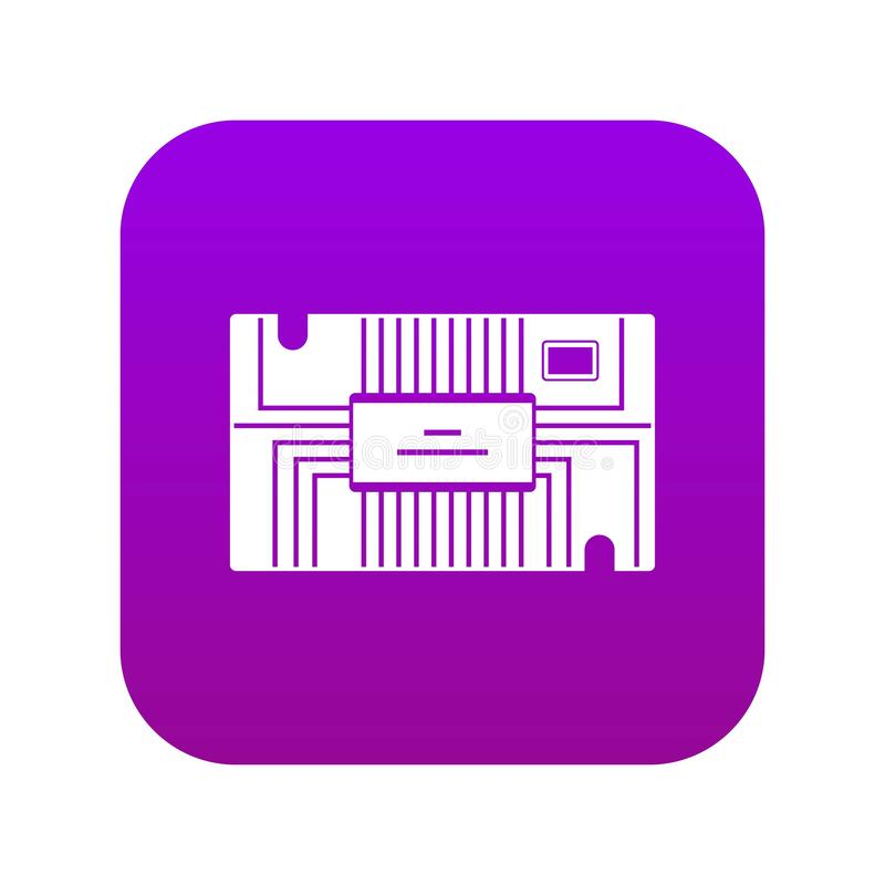 Púrpura digital del icono del microchip ilustración del vector
