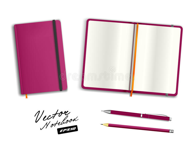Púrpura en blanco abierta y plantilla cerrada del cuaderno con la banda elástica y la señal fotos de archivo