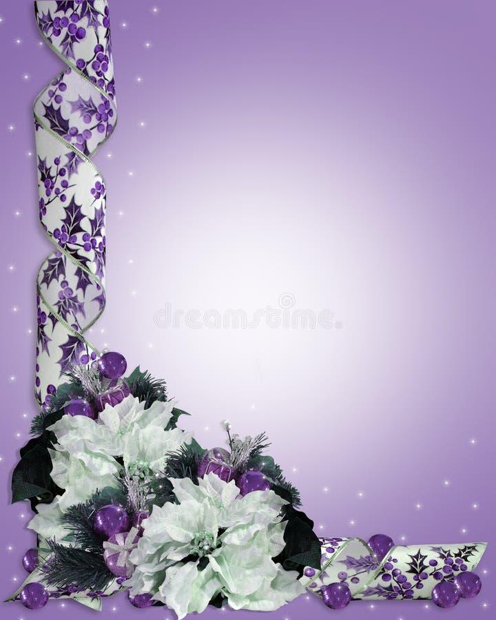 Púrpura floral de la frontera de la Navidad ilustración del vector