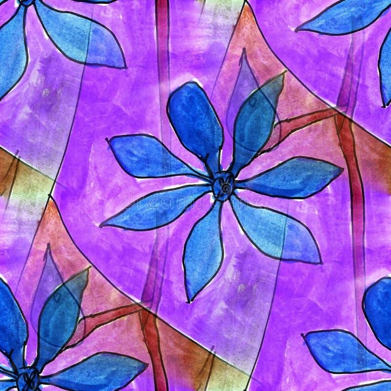 Púrpura inconsútil, azul, papel pintado ligero del artista de la acuarela de la flor libre illustration