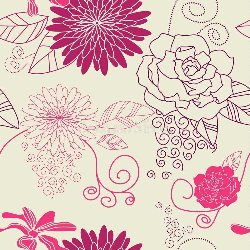 Púrpura inconsútil del fondo de la flor stock de ilustración