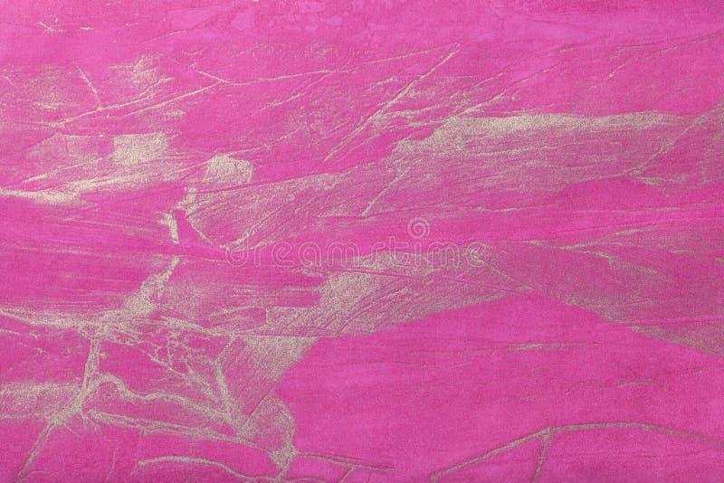 Púrpura oscura del fondo del arte abstracto con color de oro Pintura multicolora en lona fotografía de archivo