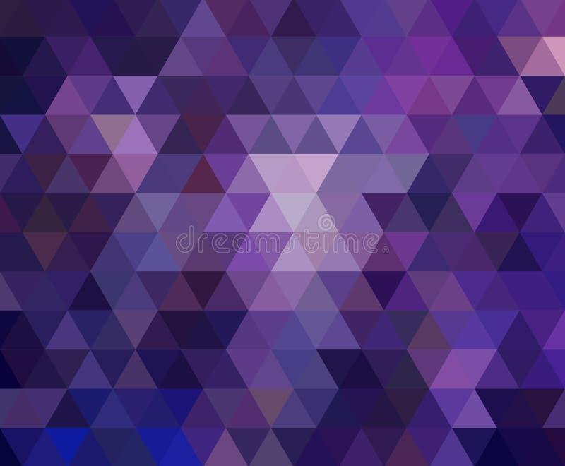 Púrpura oscura multicolora, ejemplo poligonal rosado, que consisten en triángulos E ilustración del vector