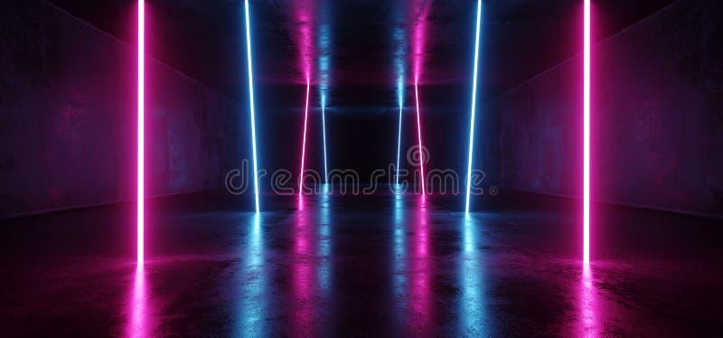 Púrpura vertical retra futurista luminosa lujosa fluorescente de neón de las luces de Sci Fi el ultravioleta cósmico vibrante psi ilustración del vector