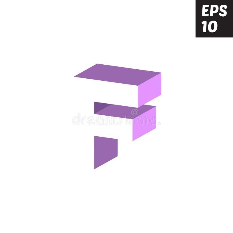 Púrpura violeta del logotipo de la letra inicial F del diseño del bloque minúsculo de la plantilla ilustración del vector