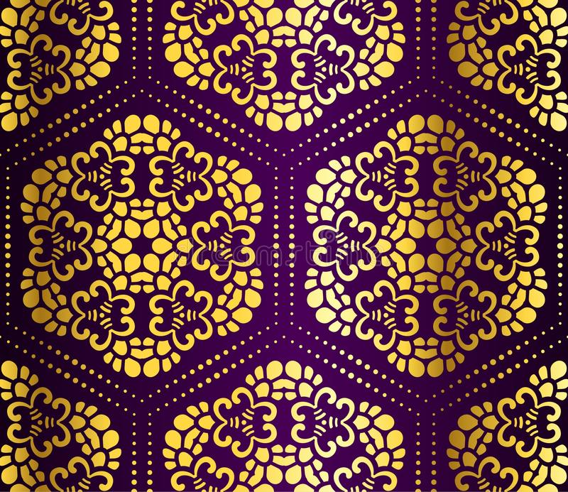 Púrpura y arabesque inconsútil del panal del oro libre illustration