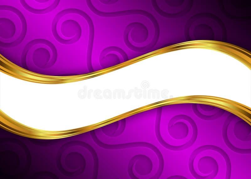 Púrpura y plantilla abstracta para el sitio web, bandera, tarjeta de visita, invitación del fondo del oro libre illustration